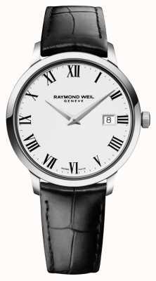 Raymond Weil Мужская тонкая белая черная кожа 5488-STC-00300