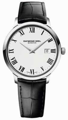 Raymond Weil Мужской тонкий белый черный кожаный ремешок 5488-STC-00300