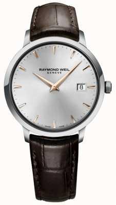 Raymond Weil Мужской тонкий серебряный коричневый кожаный ремешок 5488-SL5-65001