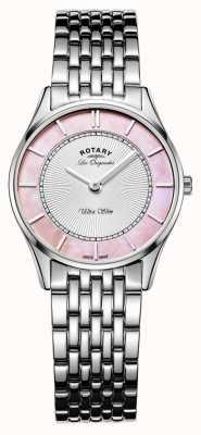 Rotary Браслет из нержавеющей стали дамы розовый перламутровый циферблат LB90800/07