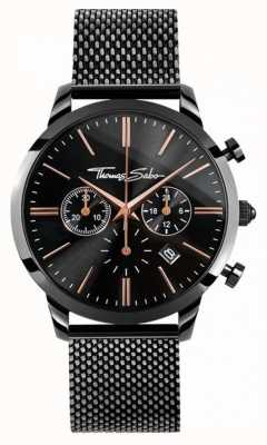 Thomas Sabo Мужская повстанческая спираль chrono black mesh WA0247-202-203-42