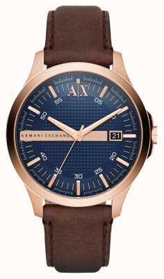 Armani Exchange Мужской коричневый кожаный ремешок из розового золота AX2172