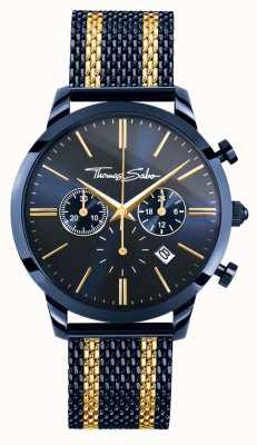Thomas Sabo Мужская повстанческая спираль голубая сталь желтое золото полоски хронограф WA0290-286-209-42