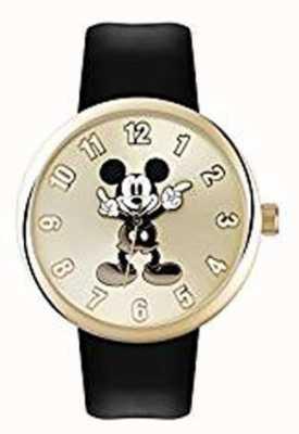 Disney Adult Микки-мышь золотой чехол черный ремешок MK1443
