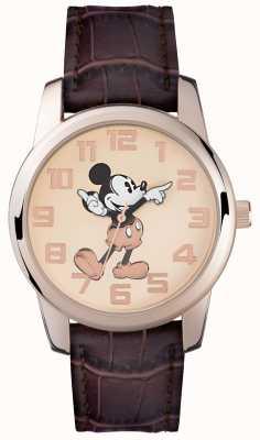 Disney Adult Микки-мышь розового золота коричневый ремешок MK1459