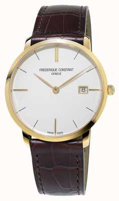 Frederique Constant Мужской тонкий коричневый кожаный ремешок FC-220V5S5