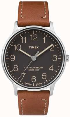 Timex Mens waterbury классический черный циферблат коричневого ремешка TW2P95800