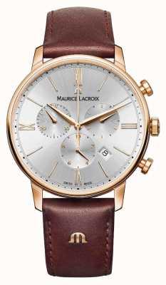 Maurice Lacroix Eliros 40 мм мужские часы коричневая кожа с розовым покрытием EL1098-PVP01-111-1