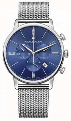 Maurice Lacroix Mens eliros хронограф синий сетчатый ремень EL1098-SS002-410-1