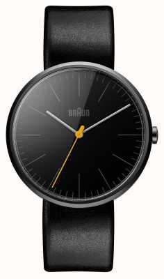 Braun Мужской тонкий черный кожаный ремешок BN0172BKBKG