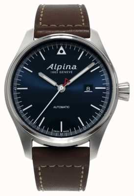 Alpina Мужской пусковой механизм автоматический коричневый кожаный ремешок синий циферблат AL-525N4S6