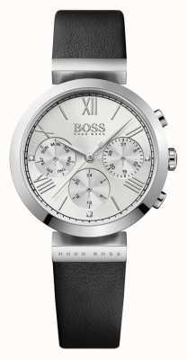 Hugo Boss Женская классическая спортивная черная кожаный ремешок серебристый циферблат 1502395