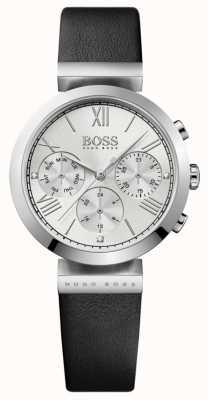 Boss Женский классический спортивный черный кожаный ремешок серебристый циферблат 1502395