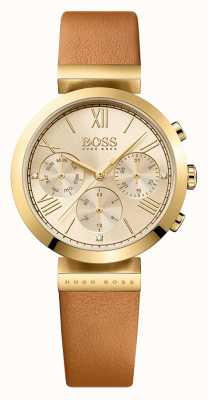 Hugo Boss Женская классическая спортивная коричневая кожаный ремешок на золотом 1502396