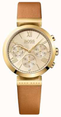 Boss Женский классический спортивный коричневый кожаный ремешок с золотым циферблатом 1502396