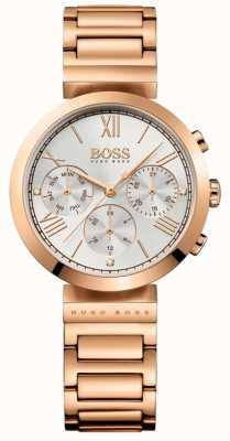 BOSS Классический женский браслет из розового золота с серебряным циферблатом 1502399
