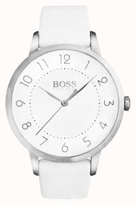 Boss Женское затмение белый кожаный ремешок белый циферблат 1502409