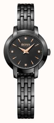 Hugo Boss Женщин успех черный покрытый стальной браслет черный циферблат 1502387