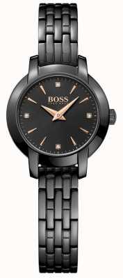 Boss Женский успех черный покрытый металлом стальной браслет черный циферблат 1502387