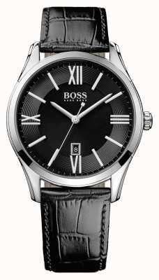 Hugo Boss Мужская черная кожаный ремешок черного циферблата 1513022