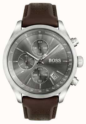 Hugo Boss Мужская гран-при коричневый кожаный ремешок серый циферблат 1513476