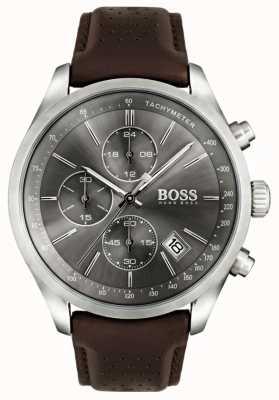 Boss Мужская гран-при коричневый кожаный ремешок серый циферблат 1513476