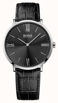Hugo Boss Мужская черная кожаный ремешок черного циферблата 1513369