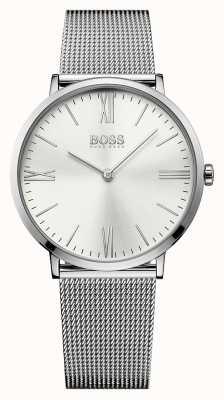 Hugo Boss Mens Jackson из нержавеющей стали сетчатый ремень серебристый циферблат 1513459