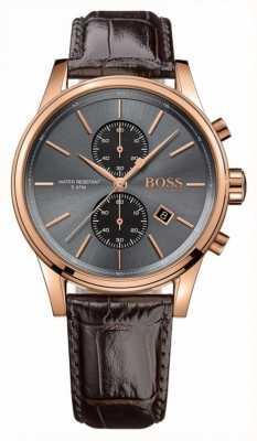 Hugo Boss Мужской серый коричневый кожаный ремешок серый циферблат 1513281