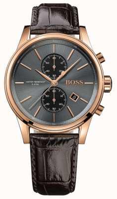 Boss Мужской серый коричневый кожаный ремешок серый циферблат 1513281