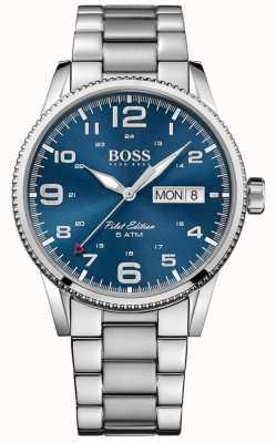 Hugo Boss Мужские пилота старинные браслет из нержавеющей стали браслет синий 1513329