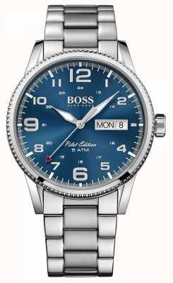 Boss Мужской пилотный винтажный браслет из нержавеющей стали синий циферблат 1513329