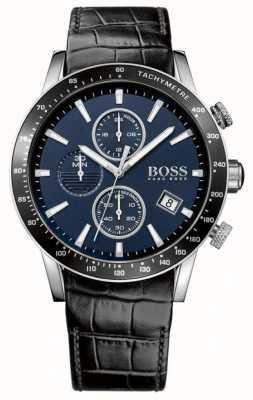 Boss Mens rafale черный кожаный ремешок синий циферблат 1513391