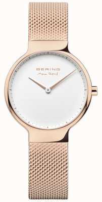 Bering Ladies max rené сменный сетчатый ремешок розовое золото 15531-364