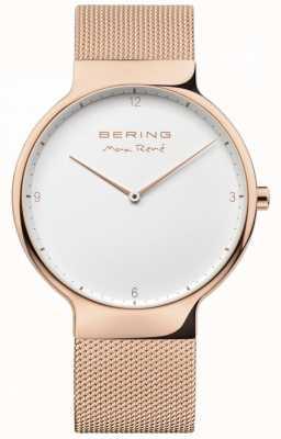 Bering Mens max rené сменный сетчатый ремень из розового золота 15540-364