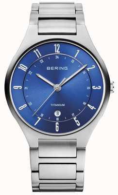 Bering Мужской титановый серый ремешок синий 11739-707