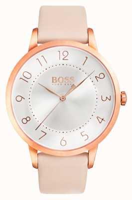 Hugo Boss Женские затмения розовые кожаные часы 1502407