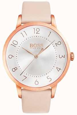BOSS Женские затмения розовые кожаные часы 1502407