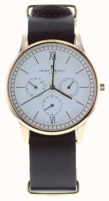 Smart Turnout Часы с часами - розовое золото с бюрганским кожаным ремешком STK2/RO/56/W