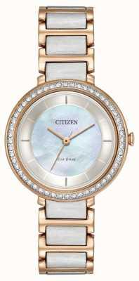 Citizen Женщины экологический диск силуэт кристалл два тона розового золота EM0483-89D