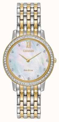 Citizen Женщины экологический диск силуэт кристалл два тона золота EX1484-57D