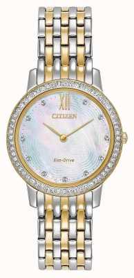 Citizen Женский эко-драйв силуэт хрусталя | двухцветное золото / серебро | EX1484-57D