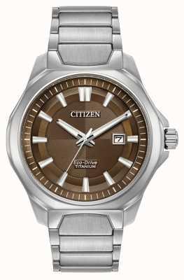 Citizen Мужские эко-диски с титановым коричневым циферблатом AW1540-88X