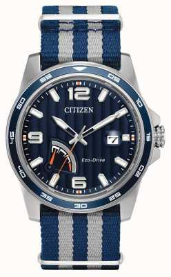 Citizen Мужские эко-драйвы запаса синей ткани AW7038-04L