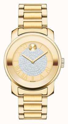 Movado Жирный серебристый желто-золотой корпус с кристаллами k1 3600255