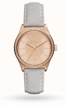 Armani Exchange Женщины серый кожаный ремешок розовое золото AX5444