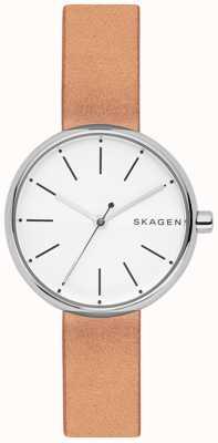 Skagen Женщин signatur светло-коричневый кожаный белый циферблат SKW2594