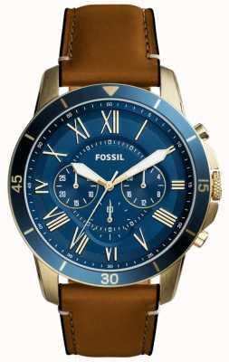 Fossil Мужская грань коричневый ремешок синий хронограф FS5268