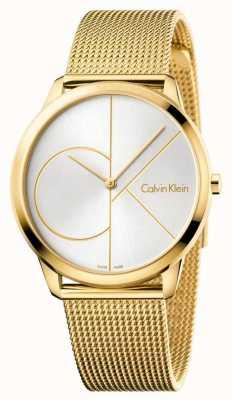 Calvin Klein Мужские минимальные часы | ремешок из нержавеющей стали с золотой сеткой | K3M21526