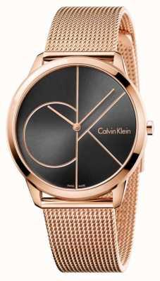 Calvin Klein Мужской минималистичный черный циферблат из розового золота с сеткой K3M21621